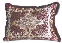Moroccan Burgundy Tapestry Pillow with Light Medallion Center