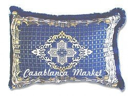 Moroccan Navy Blue Tapestry Pillow