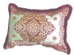 Moroccan Burgundy Tapestry Pillow with Dark Medallion Center
