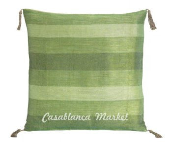 Green Striped Silk/Wool Pillow