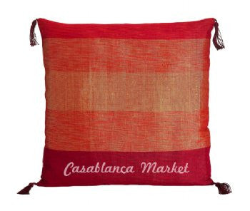 Red Striped Silk/Wool Pillow