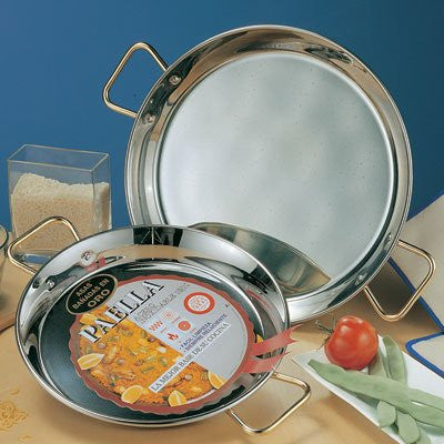Stainless Steel Paella Pan w/ Gold Handles (SP0004)