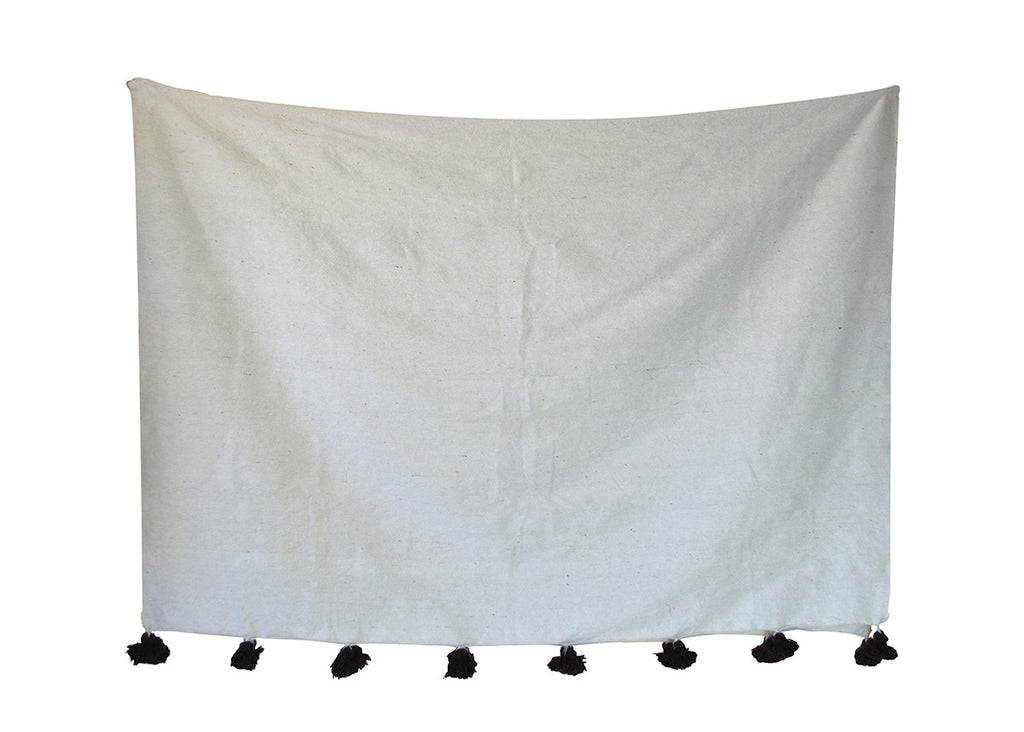 Moroccan Pom Pom Blanket, White with Brown Pom Pom