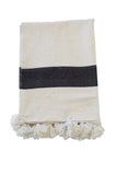 Moroccan Pom Pom Blanket, Black on White