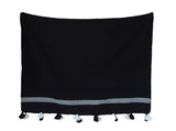 Moroccan Pom Pom Blanket, White Stripes on Black