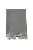 Moroccan Pom Pom Blanket, Grey with White Pom Pom