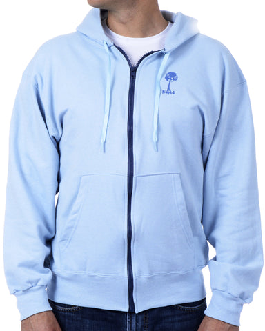 Men's Recycled Hoodie - Cornflower Blue Zip