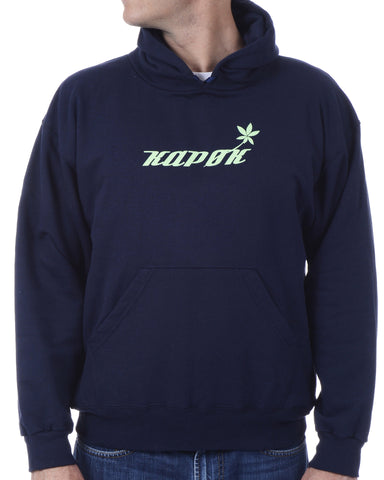 Men's Recycled Hoodie - Navy Blue Pullover - Green Stem