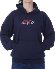Women's Recycled Hoodie - Navy Blue Pullover - Coral Shark