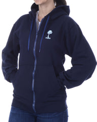 Women's Recycled Hoodie - Navy Blue Zip