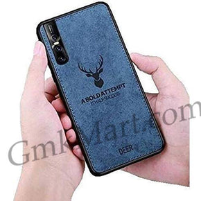Vivo V15 PRO Back Case Light Slim Deer Head Pattern Non-Slip Shockproof Soft TPU Bumper Hard PC and Fabric Back Hybrid Protection Case