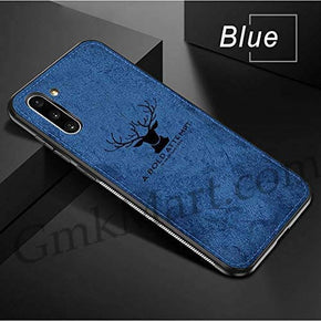 Samsung Galaxy Note 10  Back Case Light Slim Deer Head Pattern Non-Slip Shockproof Soft TPU Bumper Hard PC and Fabric Back Hybrid Protection Case