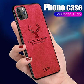 APPLE IPHONE 11 PRO (5.8)  Back Case Light Slim Deer Head Pattern Non-Slip Shockproof Soft TPU Bumper Hard PC and Fabric Back Hybrid Protection Case
