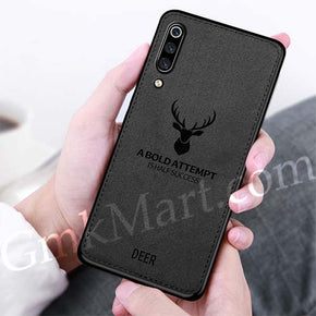 SAMSUNG GALAXY A50 Back Case Light Slim Deer Head Pattern Non-Slip Shockproof Soft TPU Bumper Hard PC and Fabric Back Hybrid Protection Case