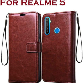 REALME 5 Vintage Flip Wallet Case Cover with Card Holder/Magentic Closure/Kickstand (Brown)