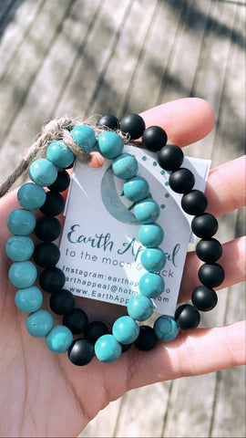 His & Hers Black Onyx+Turquoise