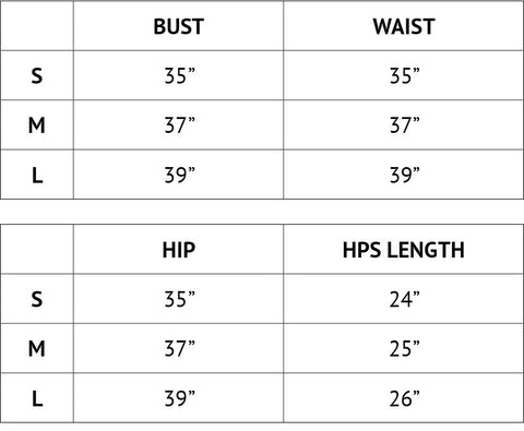 sizing chart for all tees and sweatshirts