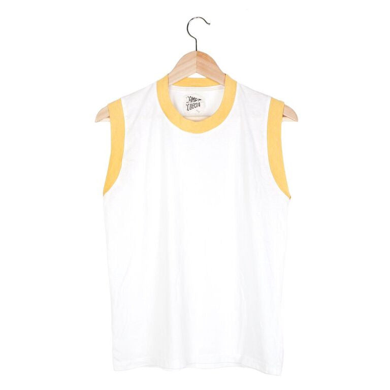 Ringer Muscle Tee (view more colors) - SMALL / VINTAGE WHITE / SUNSHINE - CAMP Collection - 2