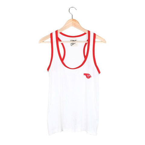 Whistle Racerback Tank - SMALL / VINTAGE WHITE / RED - CAMP Collection - 1