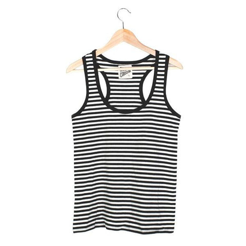 Stripe Racerback Tank - LARGE / BLACK / WHITE - CAMP Collection - 1