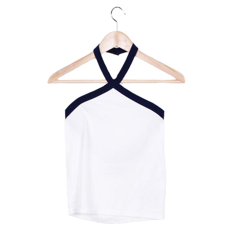 MARCIA HALTER TANK - SMALL / VINTAGE WHITE / SEA BLUE - CAMP Collection - 1