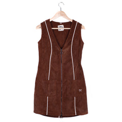 MARLO MINI DRESS - SMALL / BROWN CORDUROY / CREAM PIPING - CAMP Collection - 1