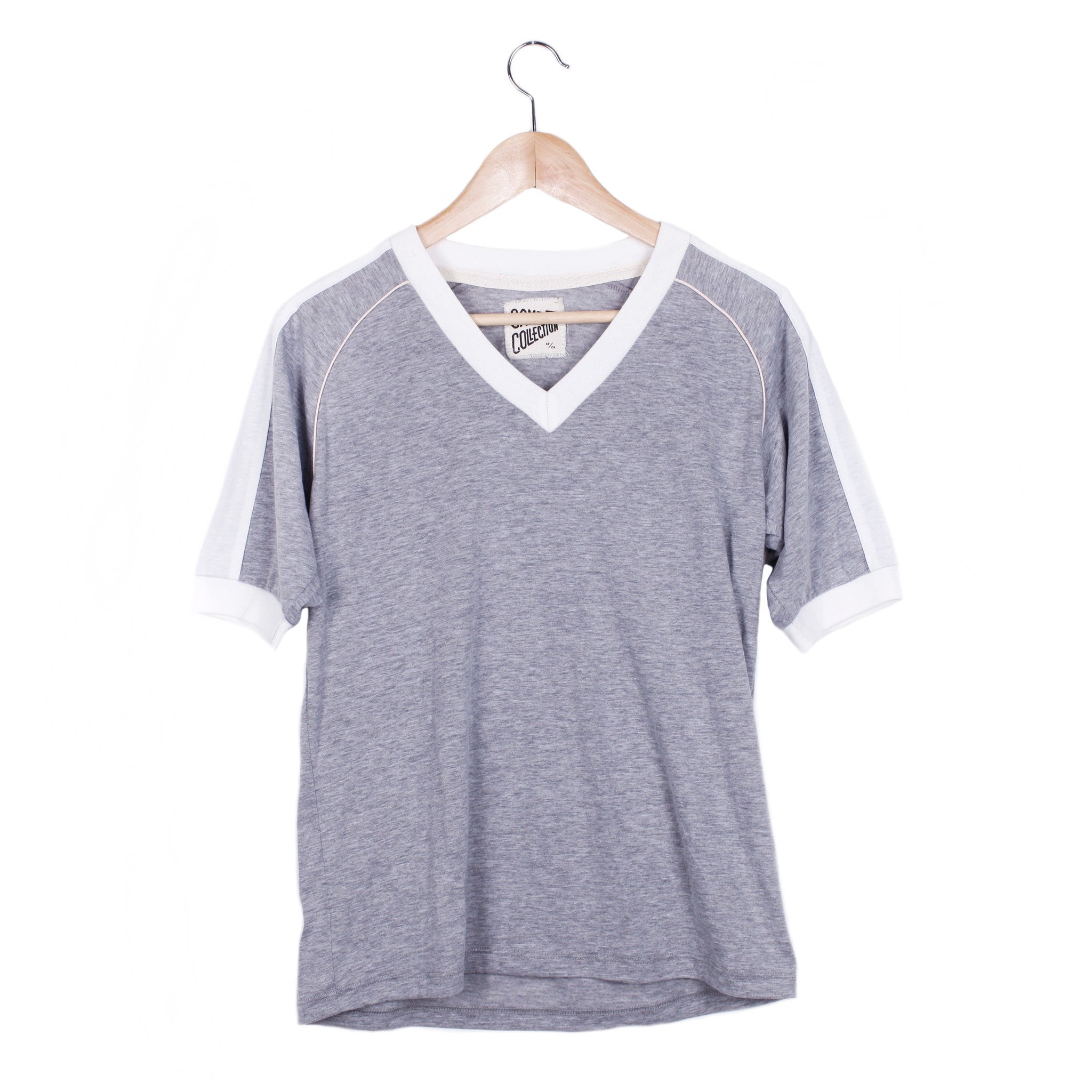 WAYNE V-NECK RINGER TEE - SMALL / HEATHER GREY / VINTAGE WHITE / PINK - CAMP Collection - 1