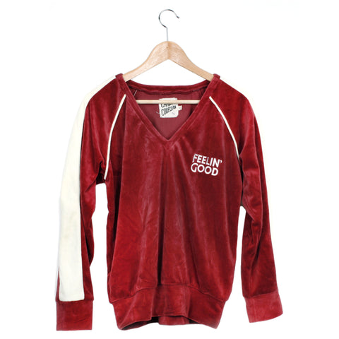 FEELIN' GOOD VELOUR PULLOVER - CRIMSON / CREAM TRIM / SMALL - CAMP Collection - 1