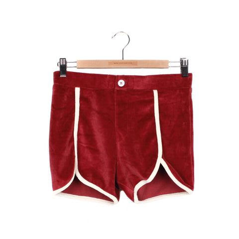 PHYS ED VELOUR SHORTS - CRIMSON / CREAM TRIM / SMALL - CAMP Collection - 1