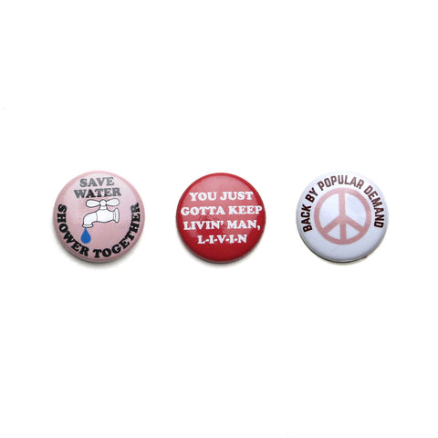 70s PEACE PIN PACK - SAVE WATER / KEEP LIVIN / PEACE - CAMP Collection - 1