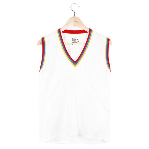 V-Neck Ringer Muscle Tee (view more colors) - SMALL / VINTAGE WHITE / STRIPE - CAMP Collection - 1