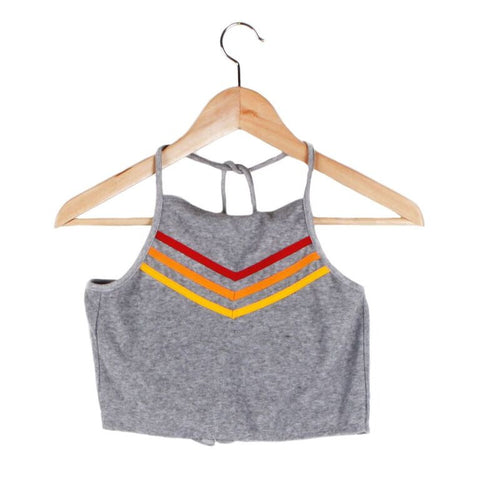 Venice Beach Bralette - SMALL / GREY / STRIPE - CAMP Collection - 1