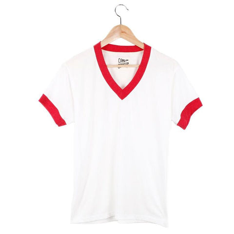 V-Neck Ringer Tee (view more colors) - SMALL / VINTAGE WHITE / RED - CAMP Collection - 1