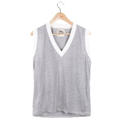 V-Neck Ringer Muscle Tee (view more colors) - SMALL / HEATHER GREY / VINTAGE WHITE - CAMP Collection - 2
