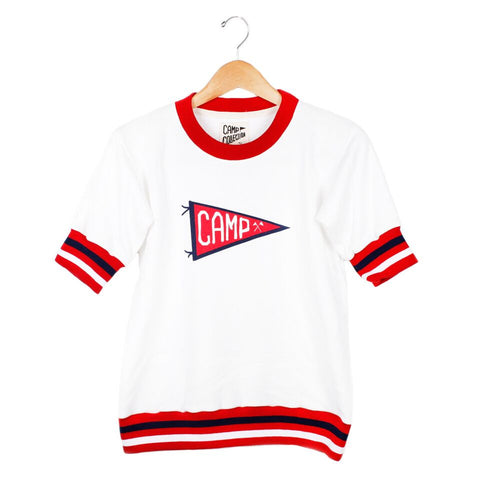 Pennant Sweatshirt - SMALL / VINTAGE WHITE / RED - CAMP Collection - 1