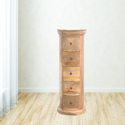 Granary Royale Slim Drum Chest with 5 Drawers - Rustic-Furniture.co.uk