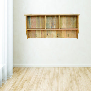 Wall Mounted Coat Rack with 3 Shelves - Rustic-Furniture.co.uk