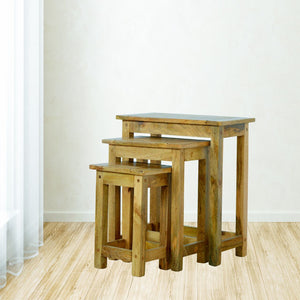 Solid Wood Set of 3 Nesting Tables - Rustic-Furniture.co.uk