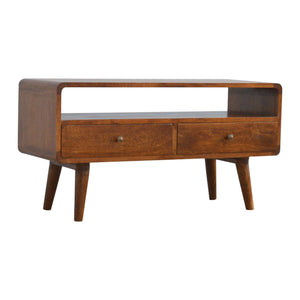 Curved Chestnut Media Unit - Rustic-Furniture.co.uk