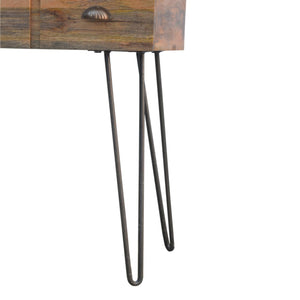 Solid Wood 4 Drawers Console Table with Iron Base - Rustic-Furniture.co.uk