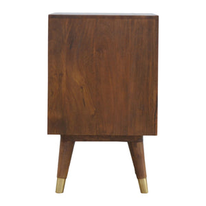Chestnut Brass Inlay Cut Out Bedside - Rustic-Furniture.co.uk