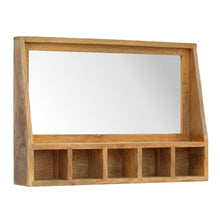 Load image into Gallery viewer, Solid Wood 5 Slot Wall Mounted Unit with Mirror - Rustic-Furniture.co.uk