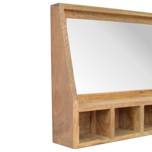 Solid Wood 5 Slot Wall Mounted Unit with Mirror - Rustic-Furniture.co.uk