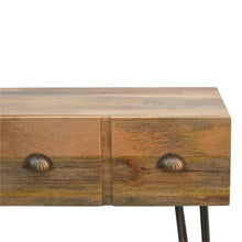 Load image into Gallery viewer, Solid Wood 4 Drawers Console Table with Iron Base - Rustic-Furniture.co.uk