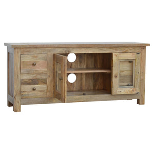 Glazed 4 Drawer 2 Door Media Unit - Rustic-Furniture.co.uk