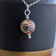 Load image into Gallery viewer, Bronze Rainbow Lustre Groovy Bead Pendant