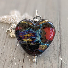 Load image into Gallery viewer, Silvered Scarlet heart pendant