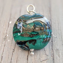 Load image into Gallery viewer, Silvered Teal Landscape pendant