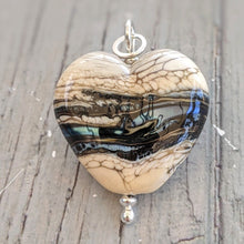 Load image into Gallery viewer, Silvered Rocky Beach heart pendant