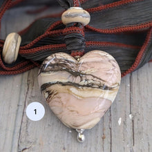 Load image into Gallery viewer, Rocky Beach Heart Pendant on Silk Ribbon